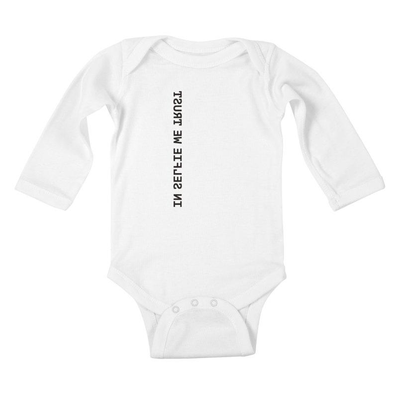 In Selfie We Trust _Zip Kids Baby Longsleeve Bodysuit by Elefunfunt
