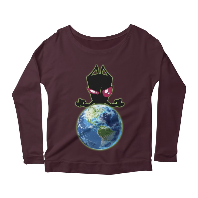 Invader from Planet Irk Women's Longsleeve Scoopneck  by proxishdesigns's Artist Shop