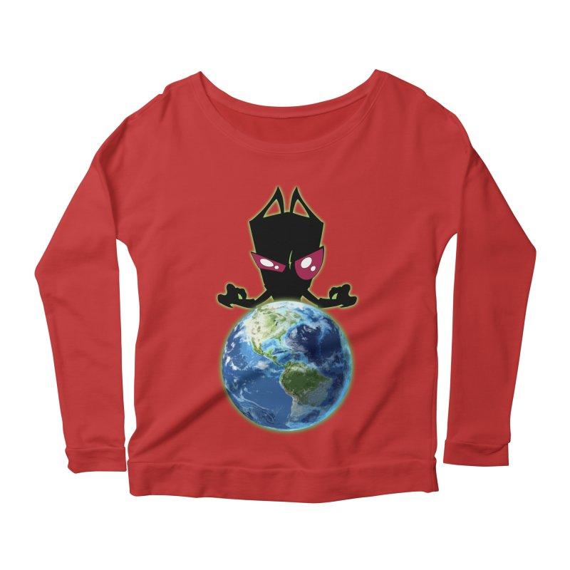 Invader from Planet Irk Women's Longsleeve Scoopneck  by proxishdesigns's Artist Shop