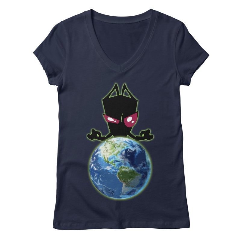 Invader from Planet Irk Women's Regular V-Neck by proxishdesigns's Artist Shop