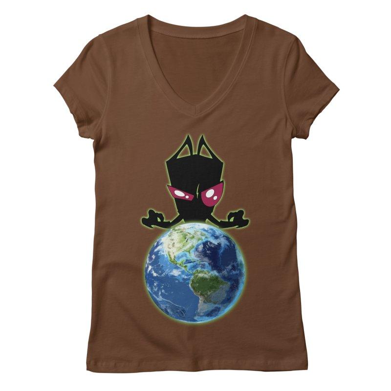 Invader from Planet Irk Women's Regular V-Neck by proxishdesigns's Artist Shop