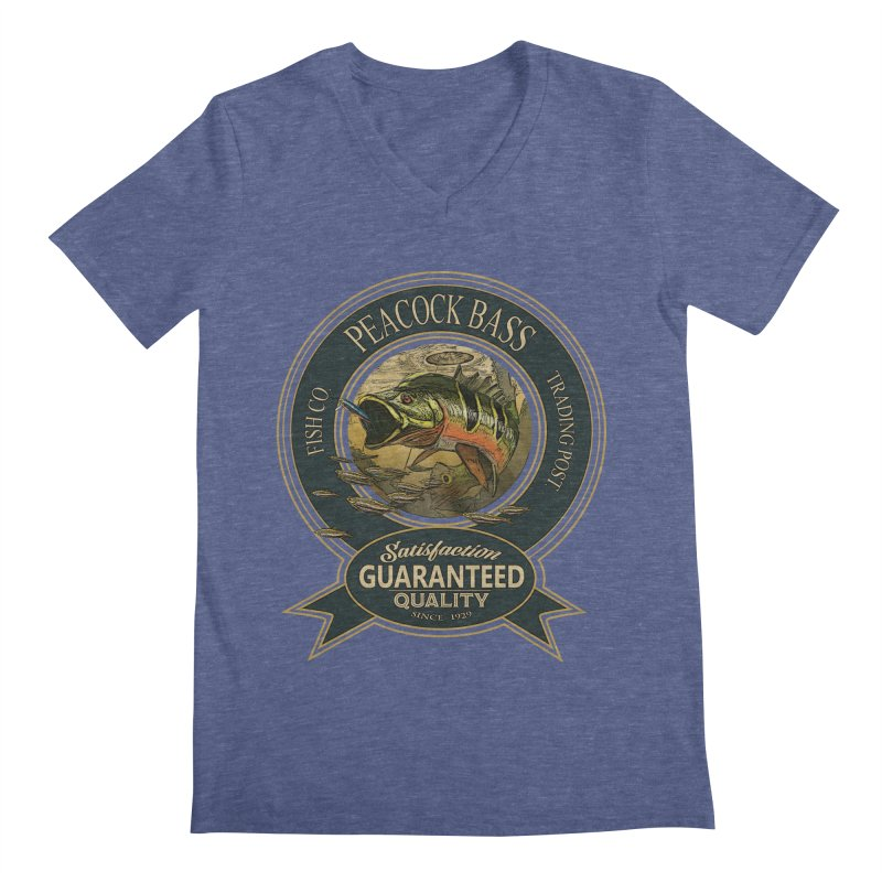 Peacock Bass Men's Regular V-Neck by psweetsdesign's Artist Shop