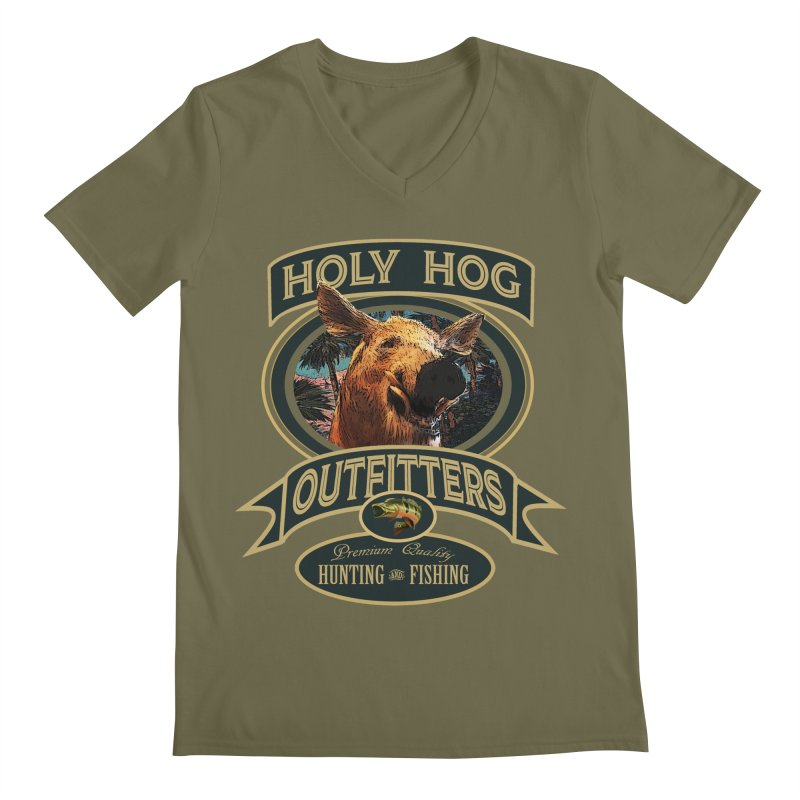 Holy Hog Men's Regular V-Neck by psweetsdesign's Artist Shop