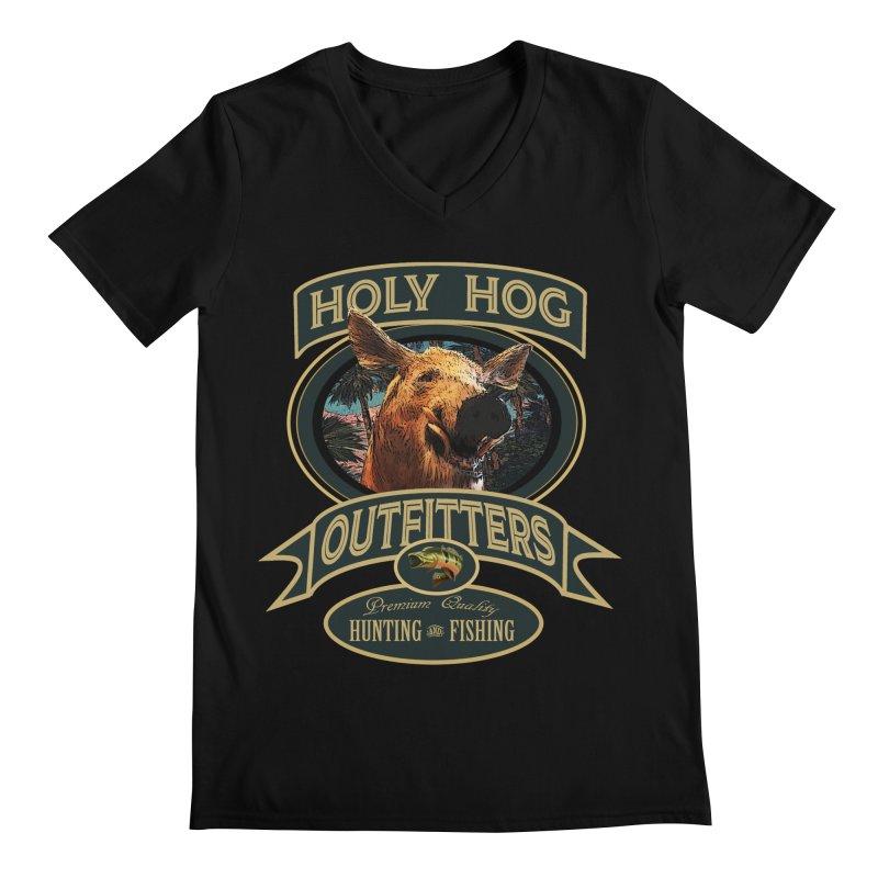Holy Hog Men's Regular V-Neck by psweetsdesign's Artist Shop