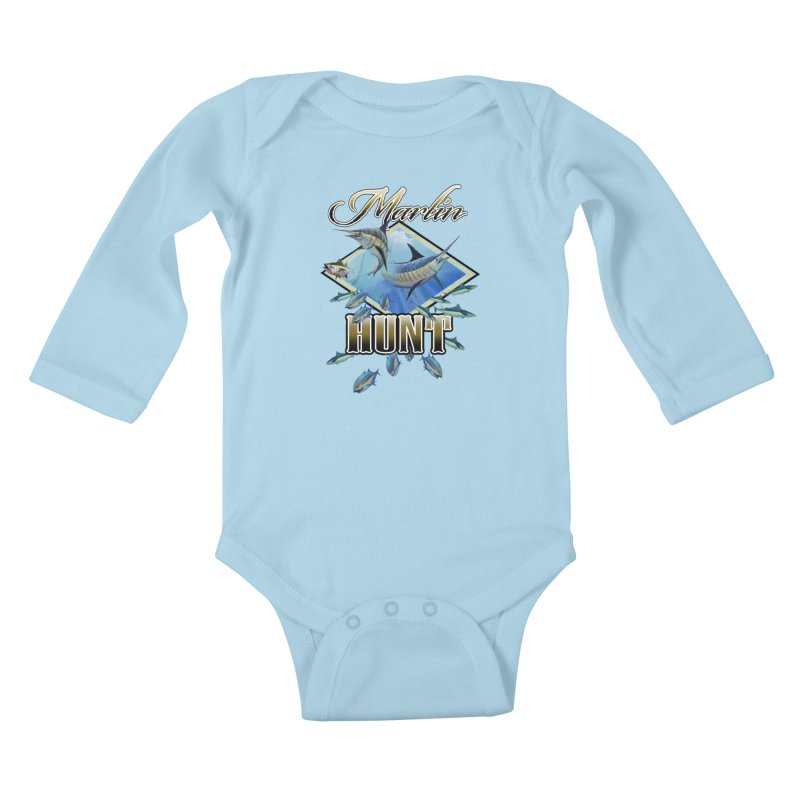 Marlin Hunt Kids Baby Longsleeve Bodysuit by psweetsdesign's Artist Shop