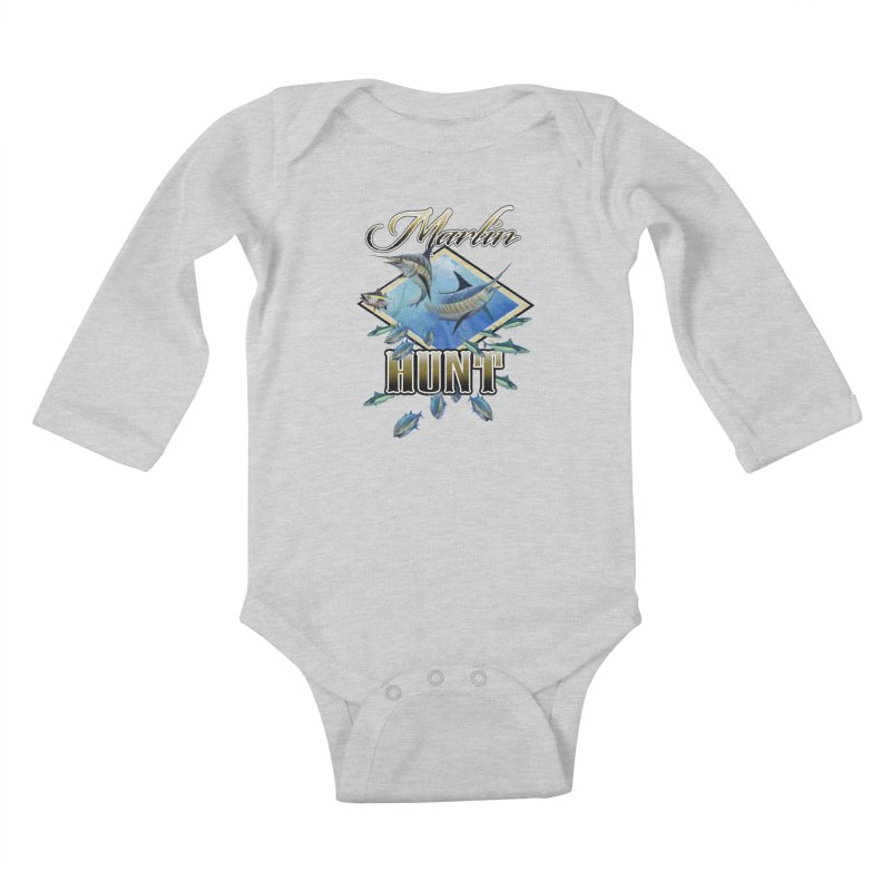 Marlin Hunt Kids Baby Longsleeve Bodysuit by psweetsdesign's Artist Shop