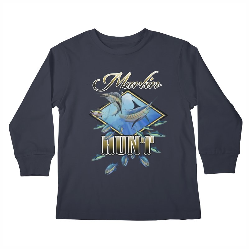Marlin Hunt Kids Longsleeve T-Shirt by psweetsdesign's Artist Shop