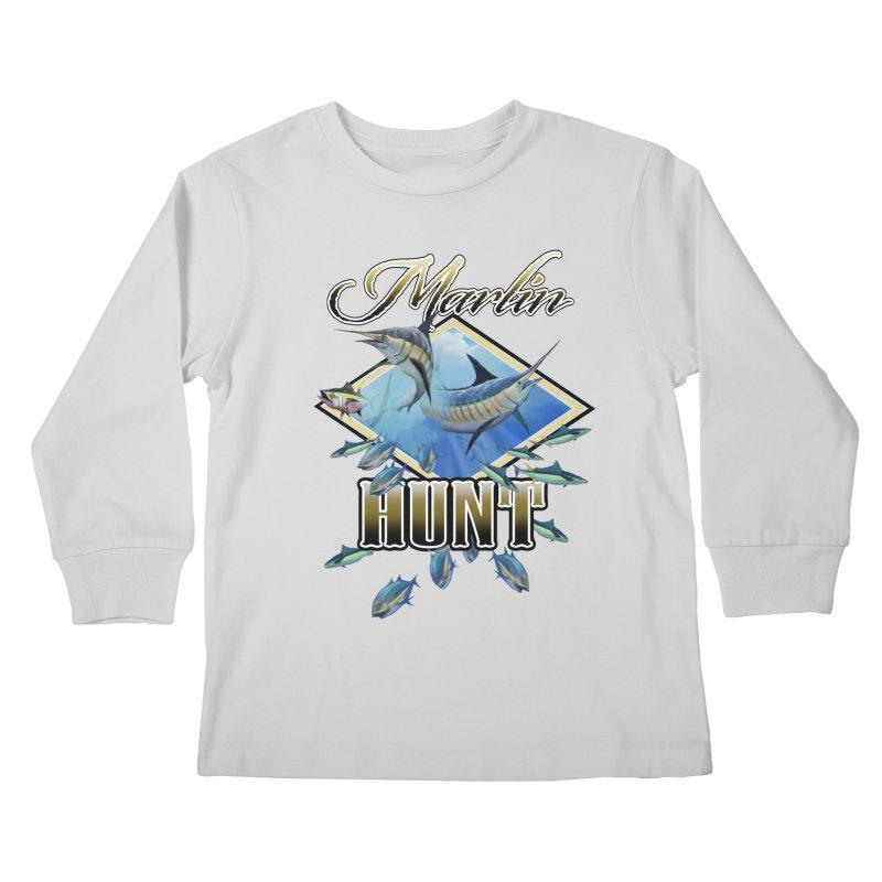 Marlin Hunt Kids Longsleeve T-Shirt by psweetsdesign's Artist Shop
