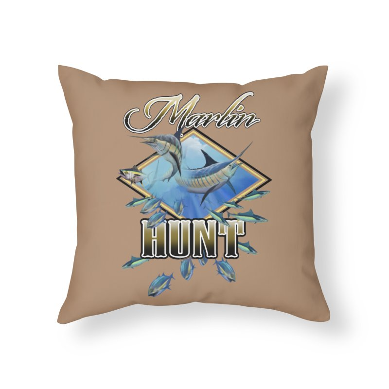 Marlin Hunt Home Throw Pillow by psweetsdesign's Artist Shop