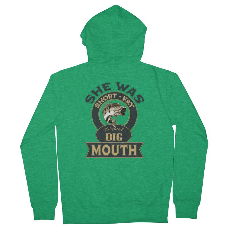 Big Mouth Bass Women's French Terry Zip-Up Hoody by psweetsdesign's Artist Shop