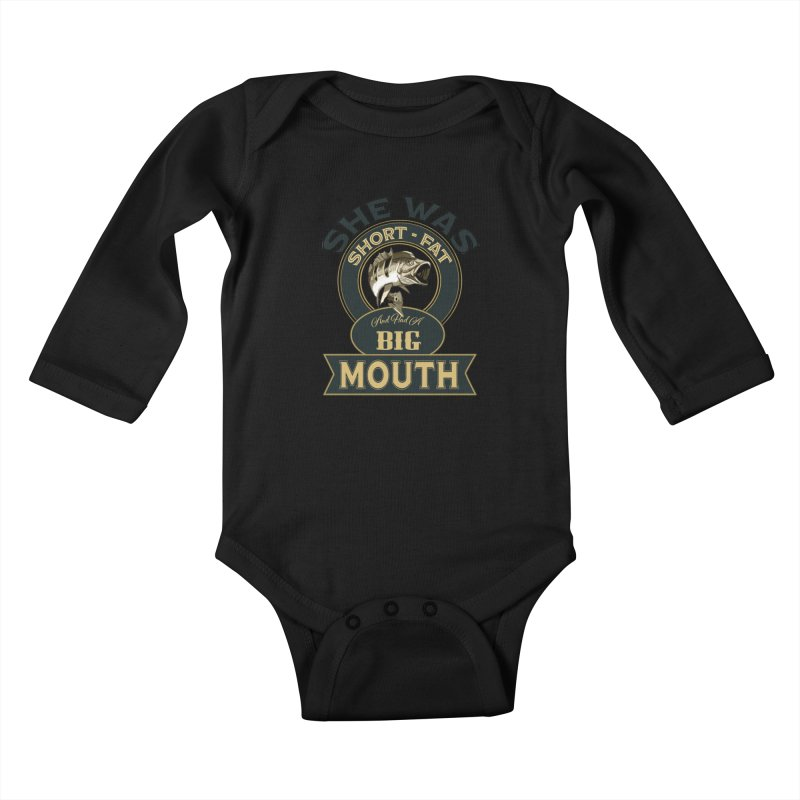 Big Mouth Bass Kids Baby Longsleeve Bodysuit by psweetsdesign's Artist Shop