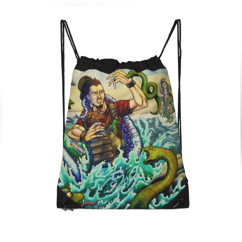 Snakes from a Fain Accessories Drawstring Bag Bag by Poisoning the Well Swag Shop