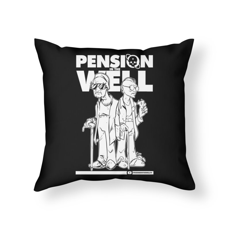 Pension in the Well (White Print) Home Throw Pillow by Poisoning the Well Swag Shop