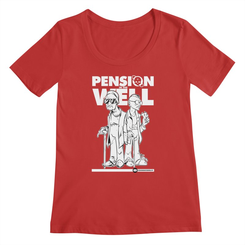Pension in the Well (White Print) Women's Regular Scoop Neck by Poisoning the Well Swag Shop