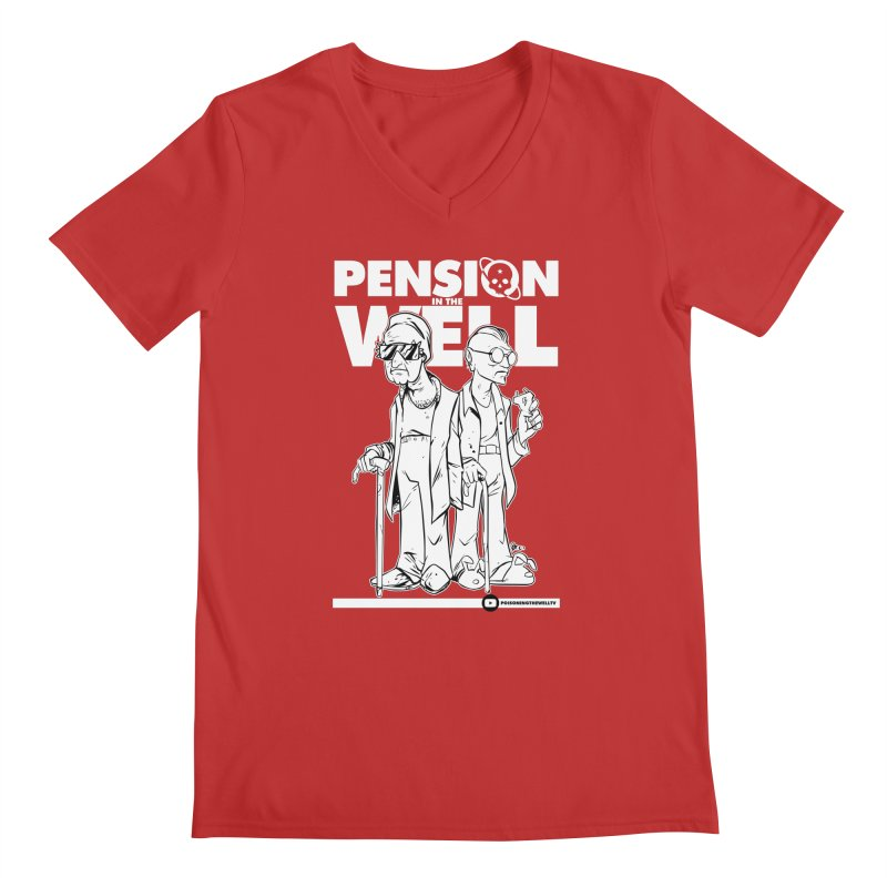 Pension in the Well (White Print) Men's Regular V-Neck by Poisoning the Well Swag Shop