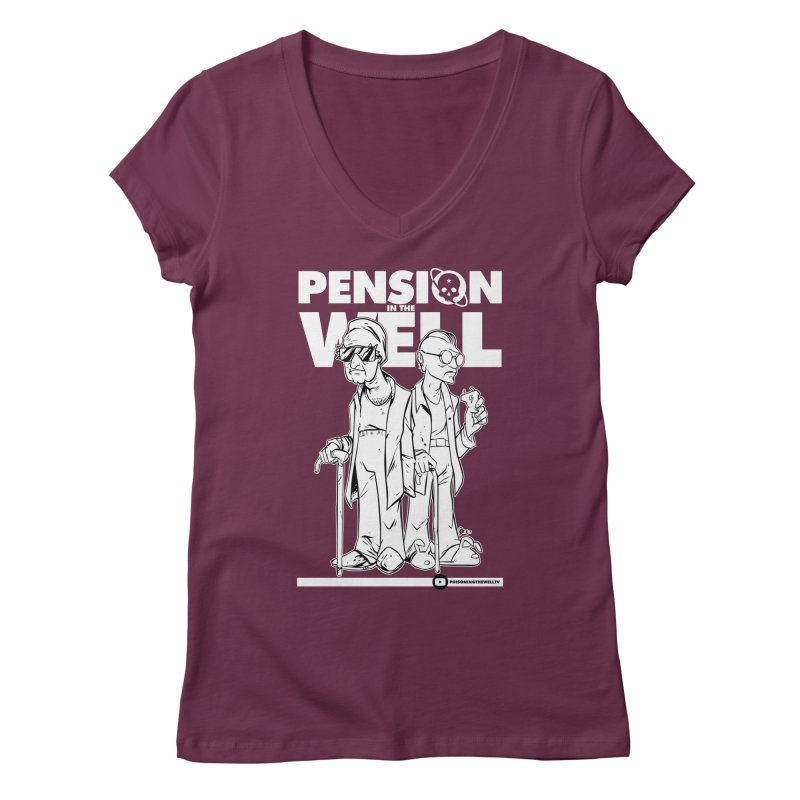 Pension in the Well (White Print) Women's Regular V-Neck by Poisoning the Well Swag Shop