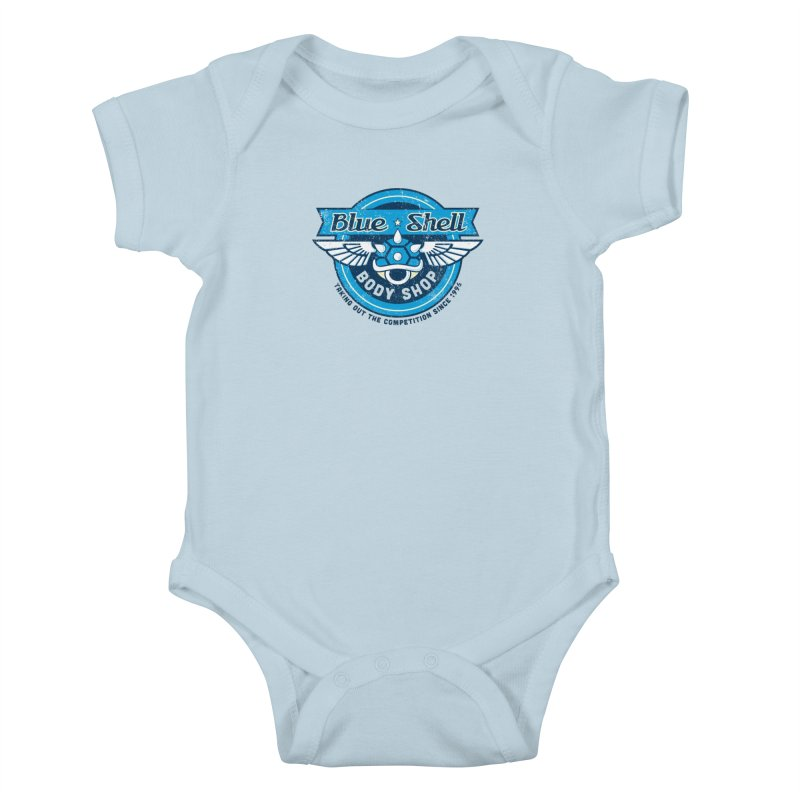 Blue Shell Auto Body Kids Baby Bodysuit by pufahl's Artist Shop