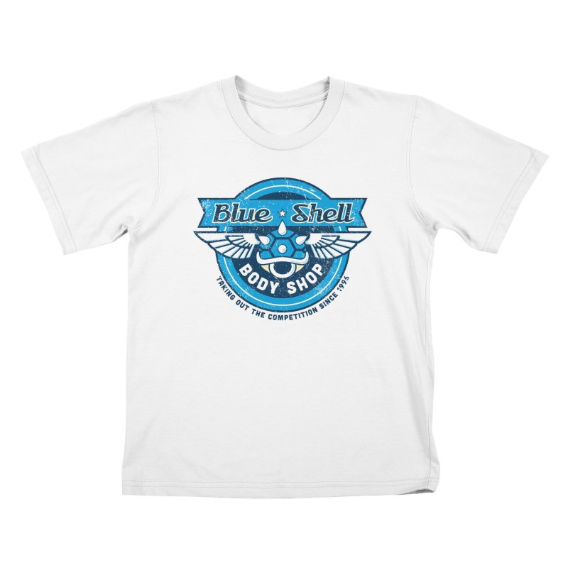 Blue Shell Auto Body Kids T-shirt by pufahl's Artist Shop