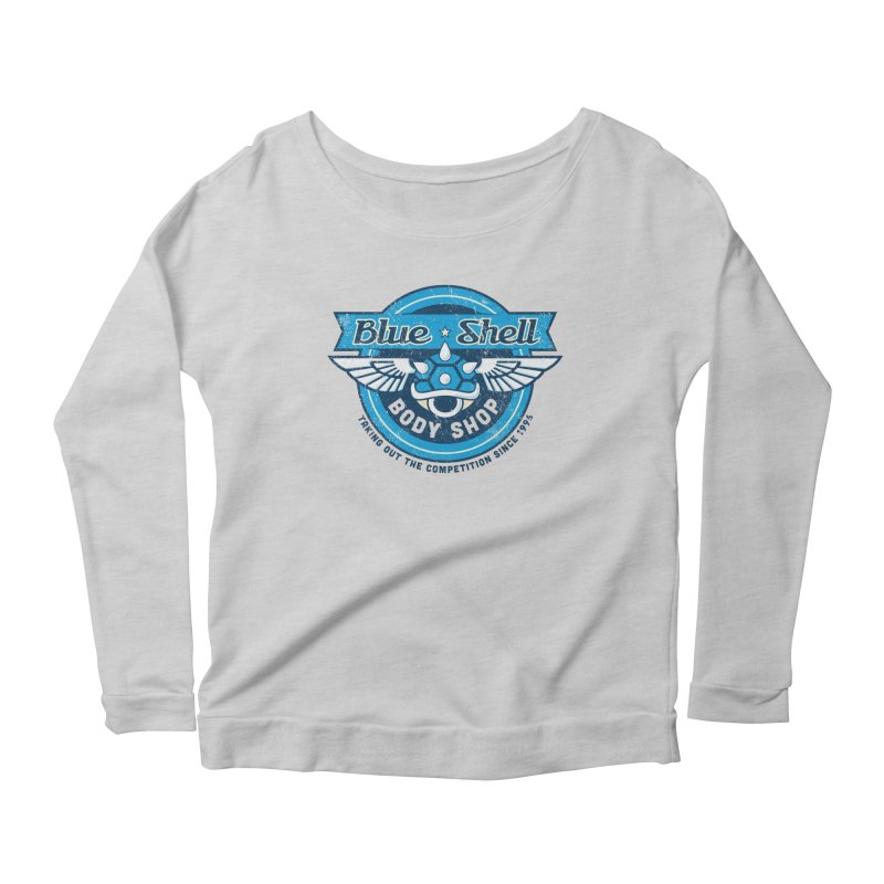 Blue Shell Auto Body Women's Longsleeve Scoopneck  by pufahl's Artist Shop