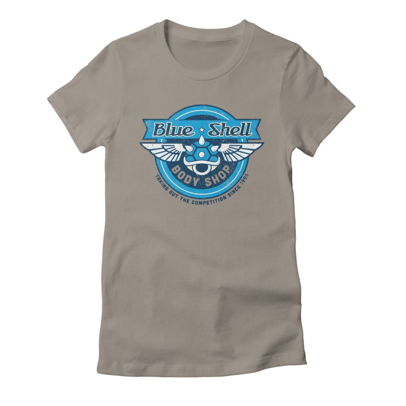 Blue Shell Auto Body Women's Fitted T-Shirt by pufahl's Artist Shop