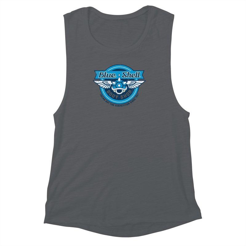 Blue Shell Auto Body Women's Muscle Tank by pufahl's Artist Shop