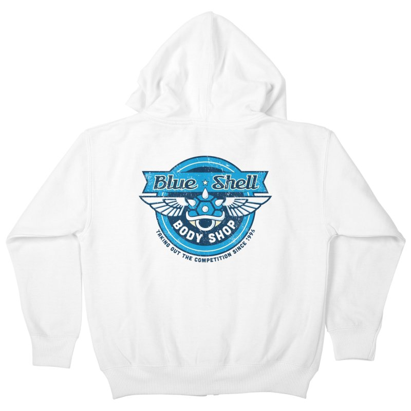 Blue Shell Auto Body Kids Zip-Up Hoody by pufahl's Artist Shop