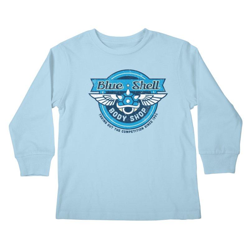 Blue Shell Auto Body Kids Longsleeve T-Shirt by pufahl's Artist Shop