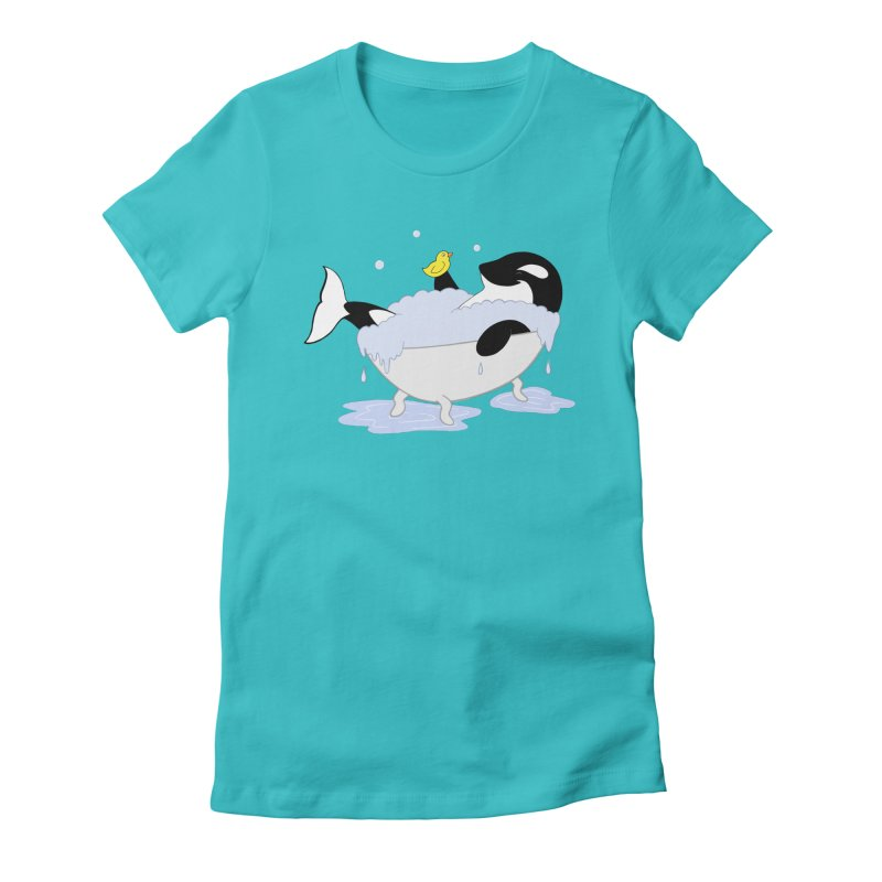 Killer Whale's Tubby Time Women's Fitted T-Shirt by puffinspictures's Artist Shop