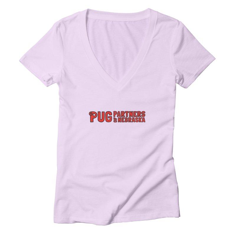 Classic Red Logo Women's Deep V-Neck V-Neck by Pug Partners of Nebraska