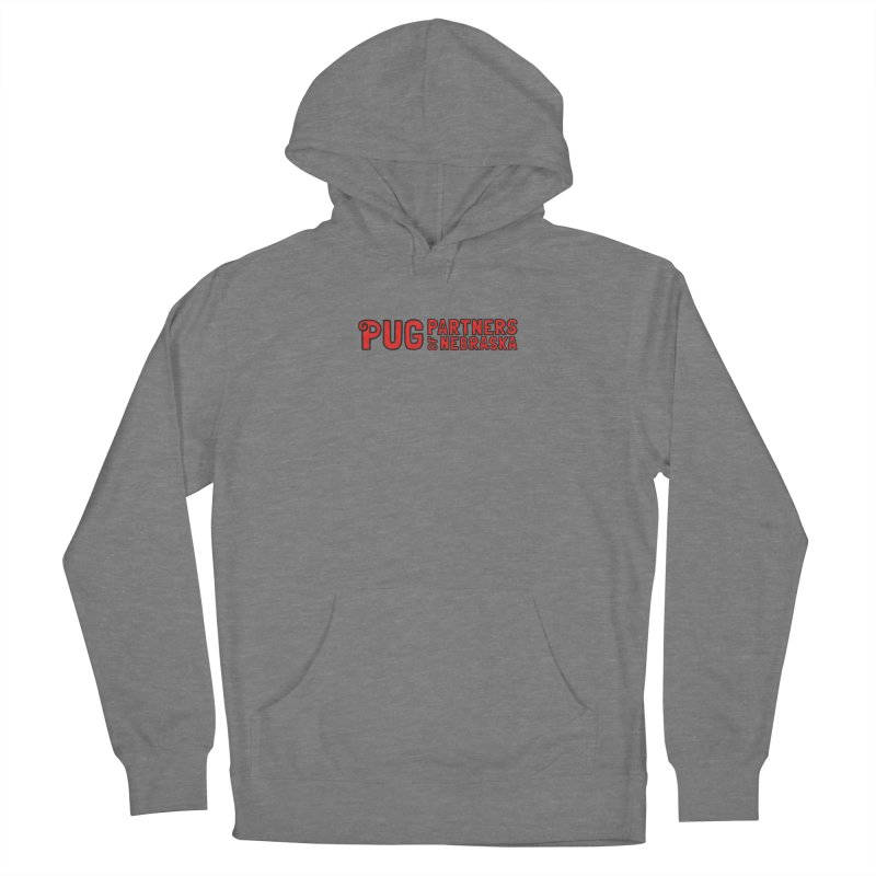 Classic Red Logo Men's French Terry Pullover Hoody by Pug Partners of Nebraska