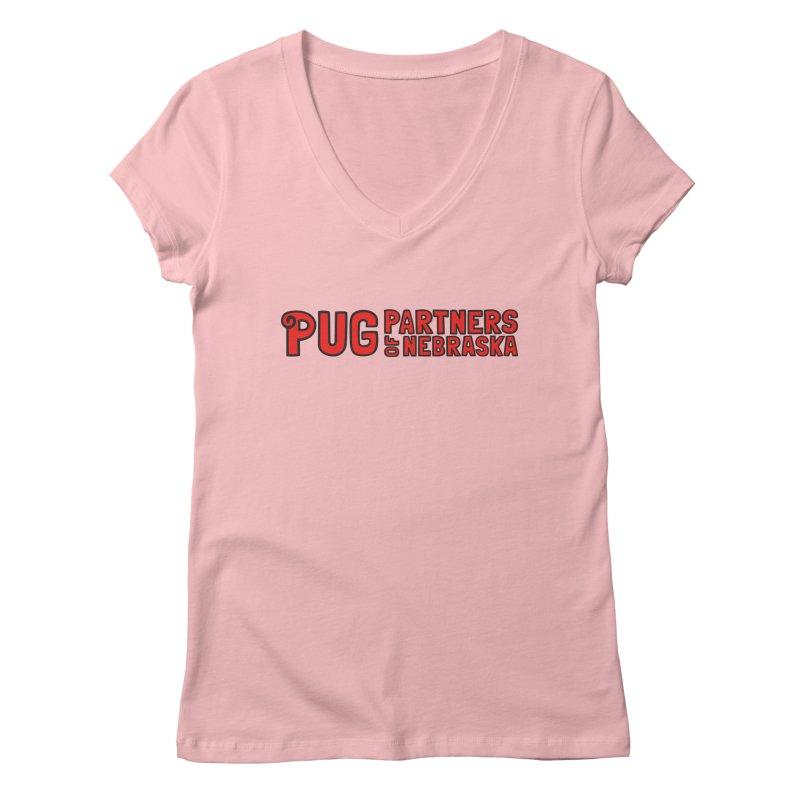 Classic Red Logo Women's V-Neck by Pug Partners of Nebraska