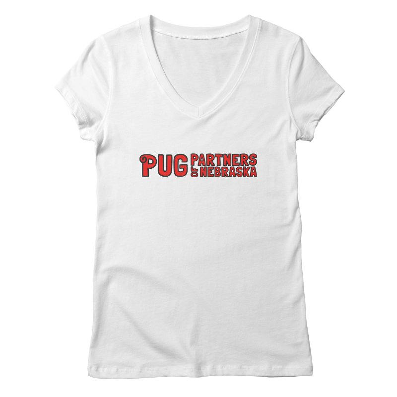 Classic Red Logo Women's V-Neck by Pug Partners of Nebraska