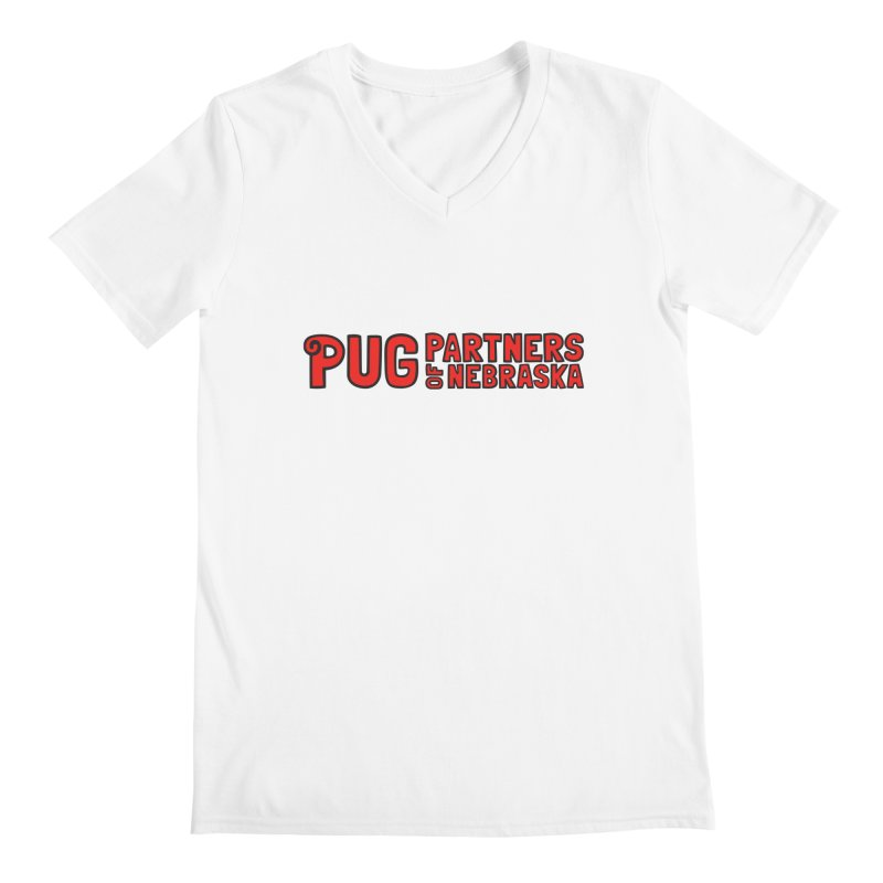 Classic Red Logo Men's V-Neck by Pug Partners of Nebraska