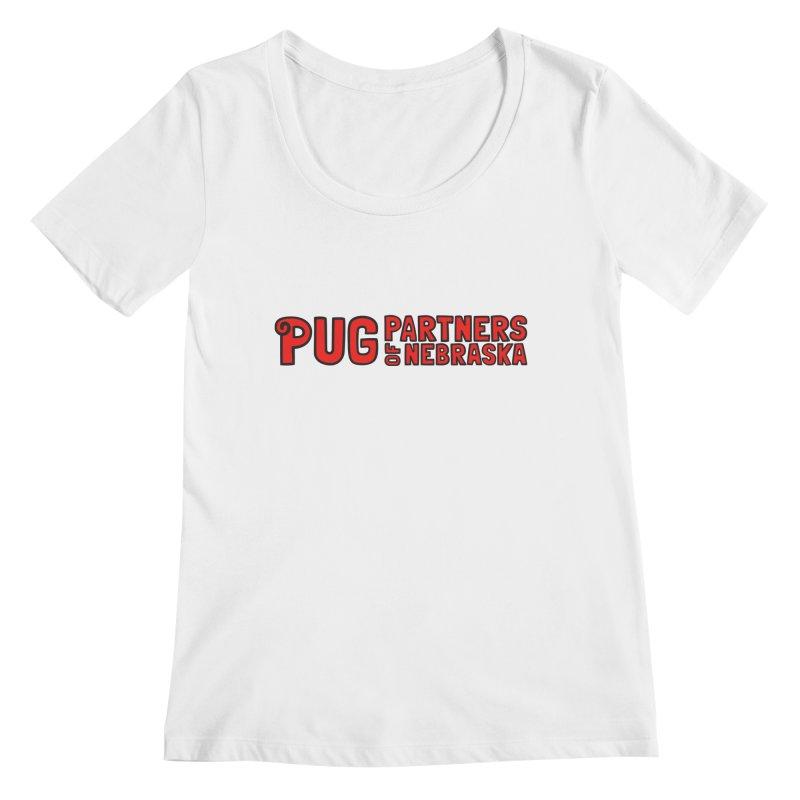 Classic Red Logo Women's Regular Scoop Neck by Pug Partners of Nebraska