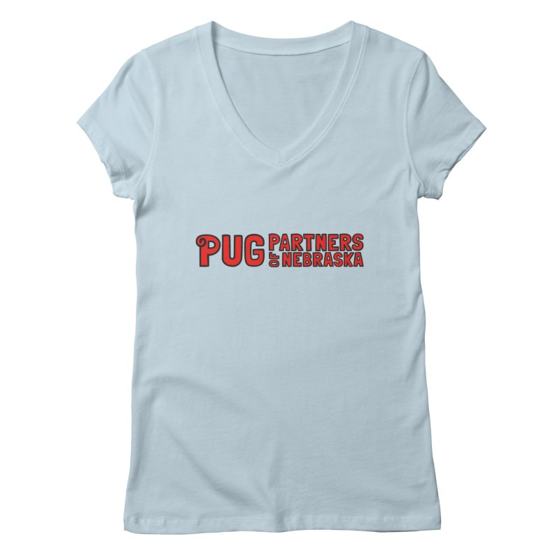Classic Red Logo Women's Regular V-Neck by Pug Partners of Nebraska