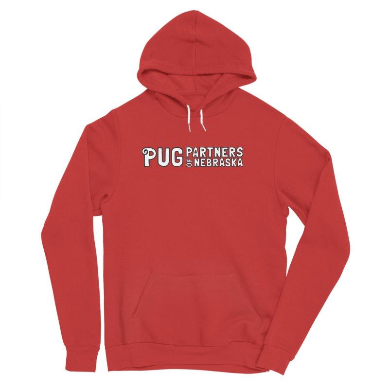 Classic White Logo Men's Sponge Fleece Pullover Hoody by Pug Partners of Nebraska