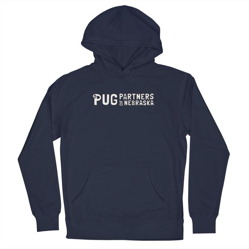 Classic White Logo Men's Pullover Hoody by Pug Partners of Nebraska