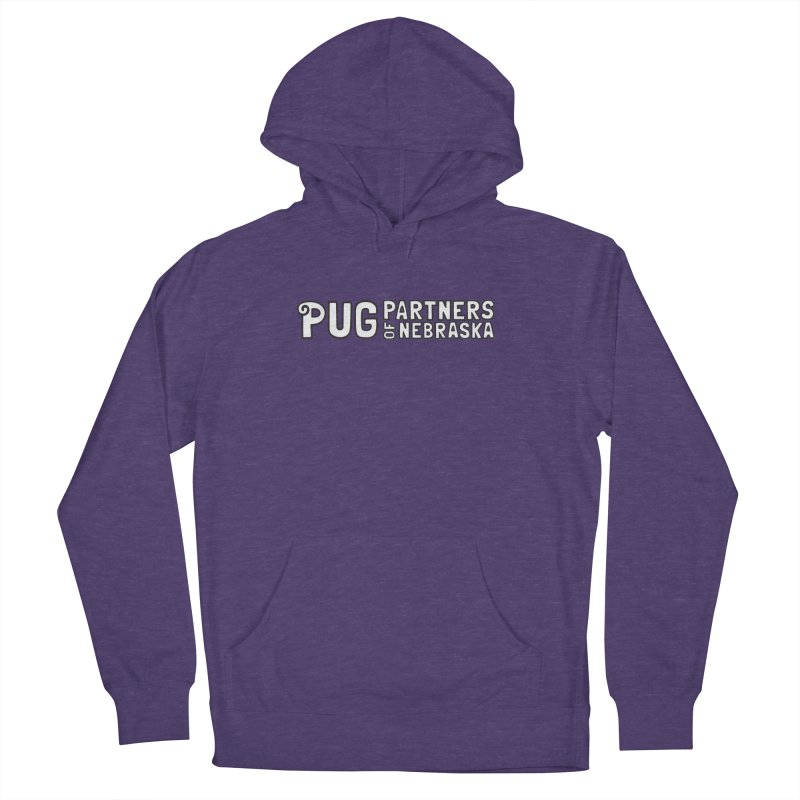 Classic White Logo Women's French Terry Pullover Hoody by Pug Partners of Nebraska