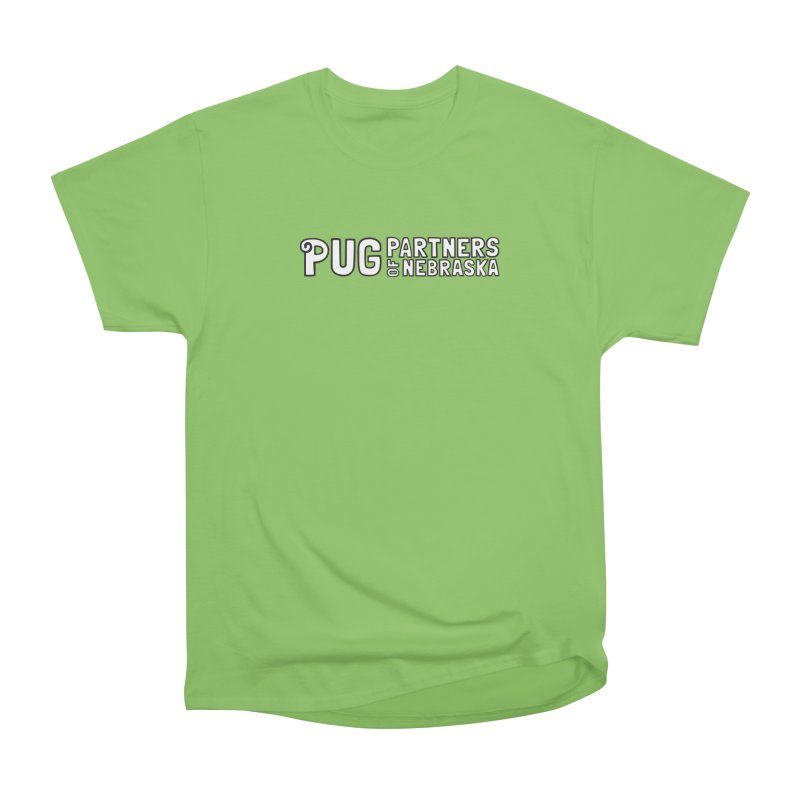 Classic White Logo Women's Heavyweight Unisex T-Shirt by Pug Partners of Nebraska