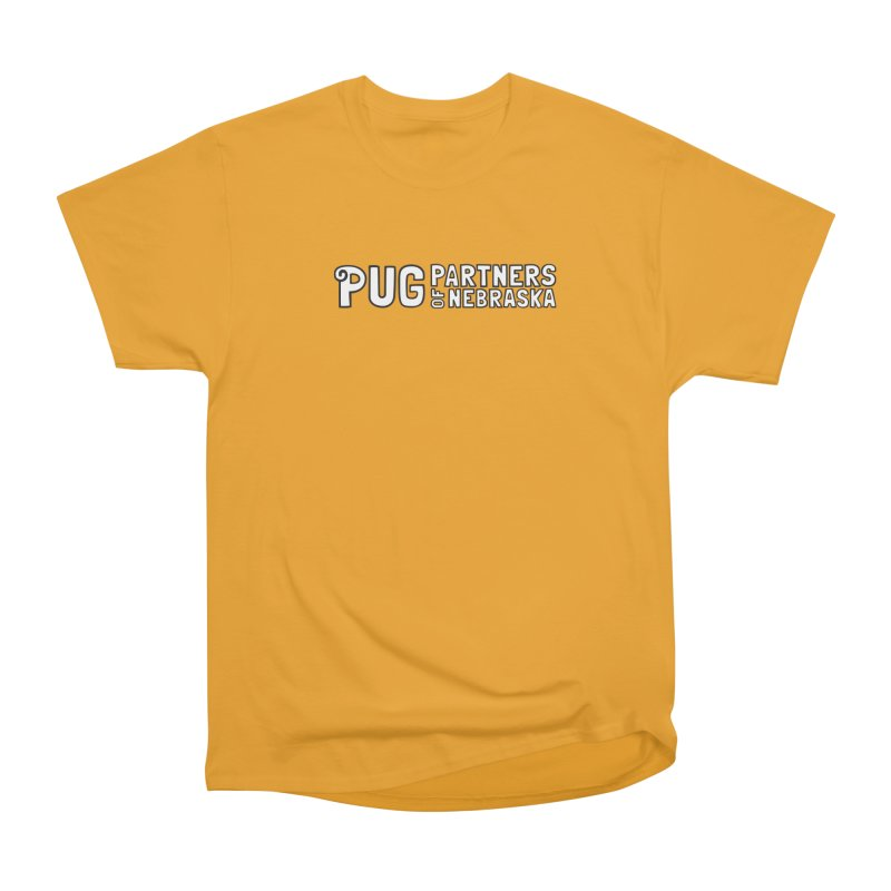 Classic White Logo Men's Heavyweight T-Shirt by Pug Partners of Nebraska