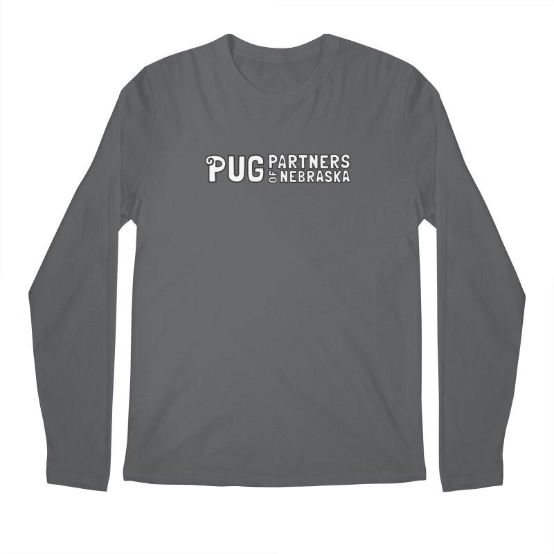 Classic White Logo Men's Longsleeve T-Shirt by Pug Partners of Nebraska
