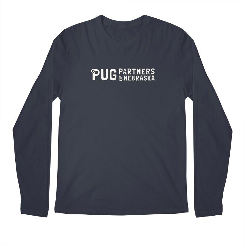 Classic White Logo Men's Regular Longsleeve T-Shirt by Pug Partners of Nebraska
