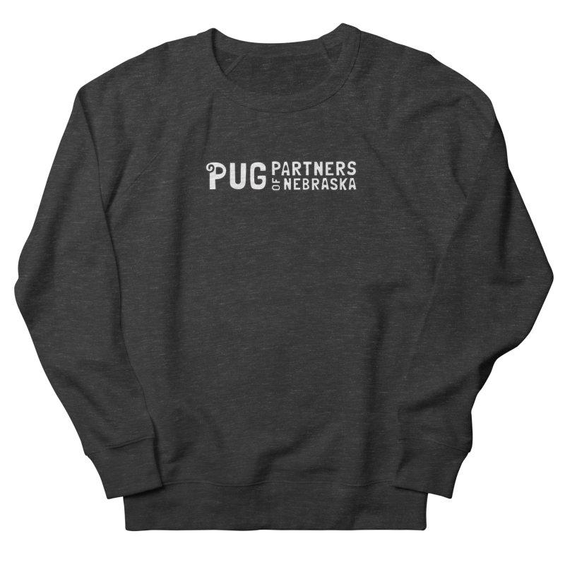 Classic White Logo Women's French Terry Sweatshirt by Pug Partners of Nebraska