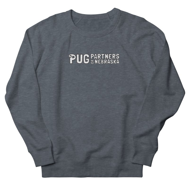 Classic White Logo Men's French Terry Sweatshirt by Pug Partners of Nebraska