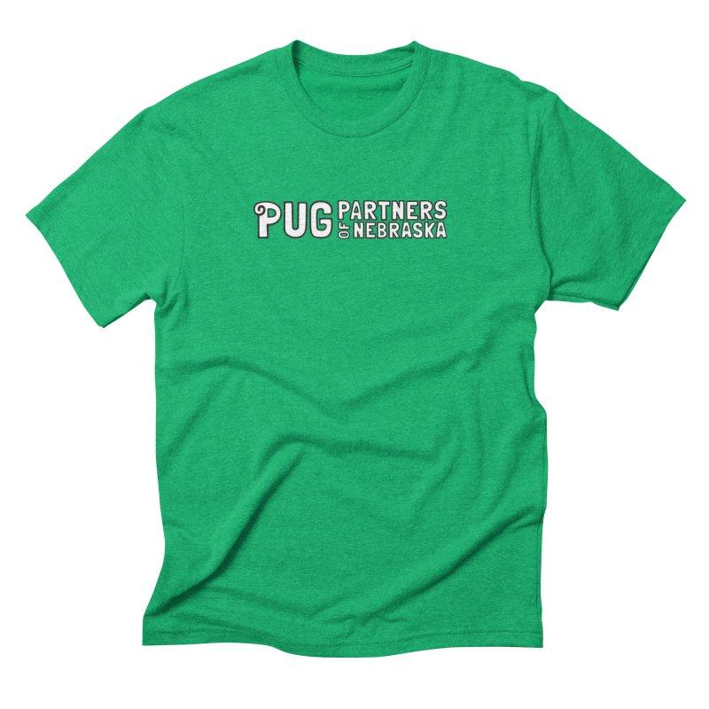 Classic White Logo Men's Triblend T-Shirt by Pug Partners of Nebraska