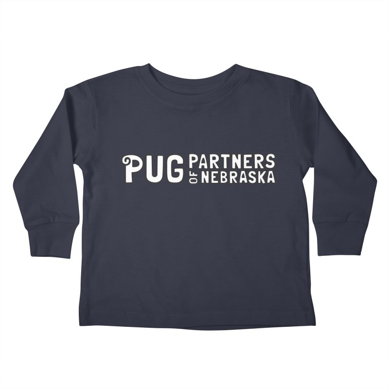Classic White Logo Kids Toddler Longsleeve T-Shirt by Pug Partners of Nebraska