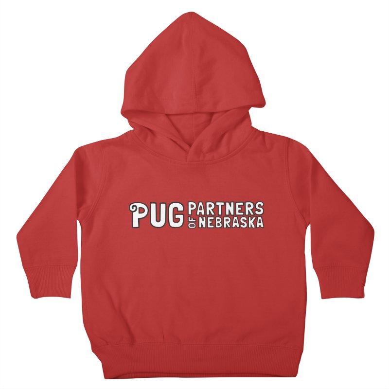 Classic White Logo Kids Toddler Pullover Hoody by Pug Partners of Nebraska