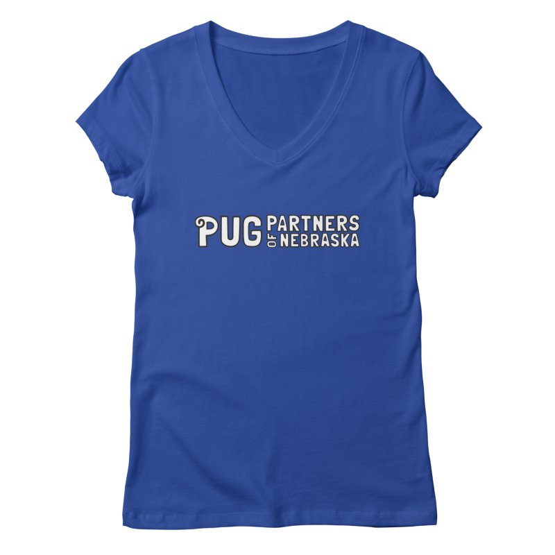 Classic White Logo Women's V-Neck by Pug Partners of Nebraska