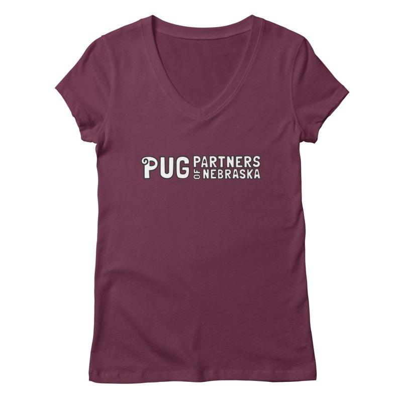 Classic White Logo Women's Regular V-Neck by Pug Partners of Nebraska