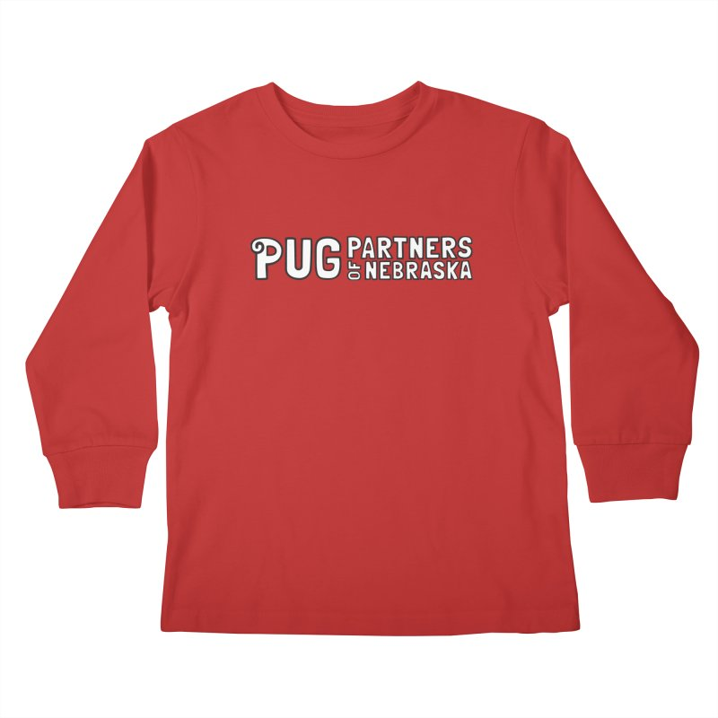 Classic White Logo Kids Longsleeve T-Shirt by Pug Partners of Nebraska